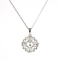 Floating diamond pendant in sterling silver.