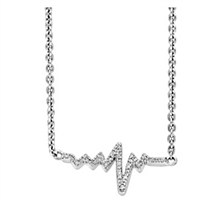 Heartbeat necklace in sterling silver and diamonds