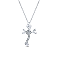 Diamond cross in sterling silver.