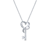 Diamond key & heart necklace in sterling silver