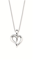 "Sterling silver heart pendant with .01ct diamond on 18"" sterling silver adjustable chain."