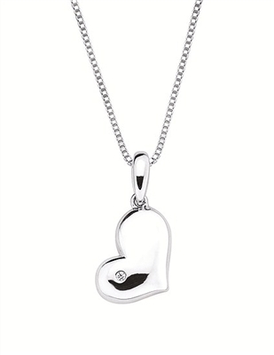 Sterling silver heart necklace with diamond