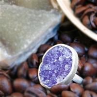 Amethyst Druzy ring in sterling silver