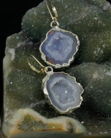 Bhaya Geode Silver Earrings by Nina Nguyen