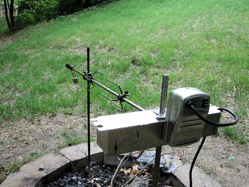Camping Fire Pit >> Onegrill Premium Electric Dual Post Open Fire Rotisserie System 45 Full Stainless