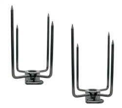 "OneGrill Chrome Steel Grill Rotisserie Spit Rod Forks (Fits: 5/8"" Hexagon, 1/2"" Square, & 11/16"" Round)"