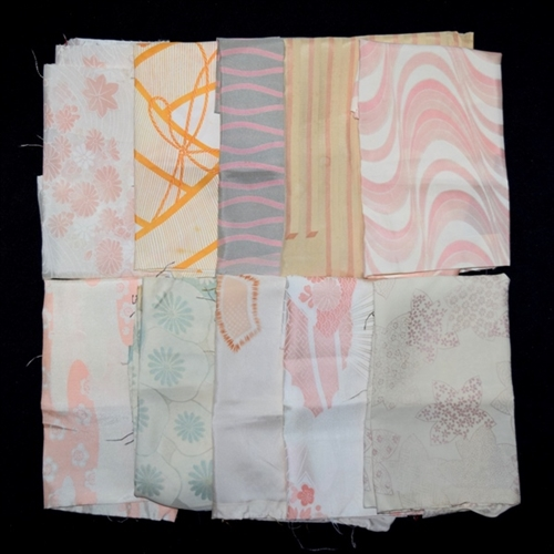 Silk Patterned Haori Linings 10 Pieces Fabric Bundle