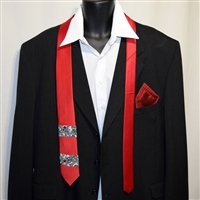 """Red and Black"" Necktie-Pocket Square Set"