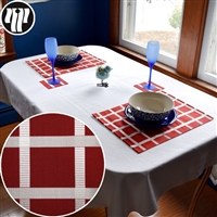 """Crimson Grid"" Place Mat Set"