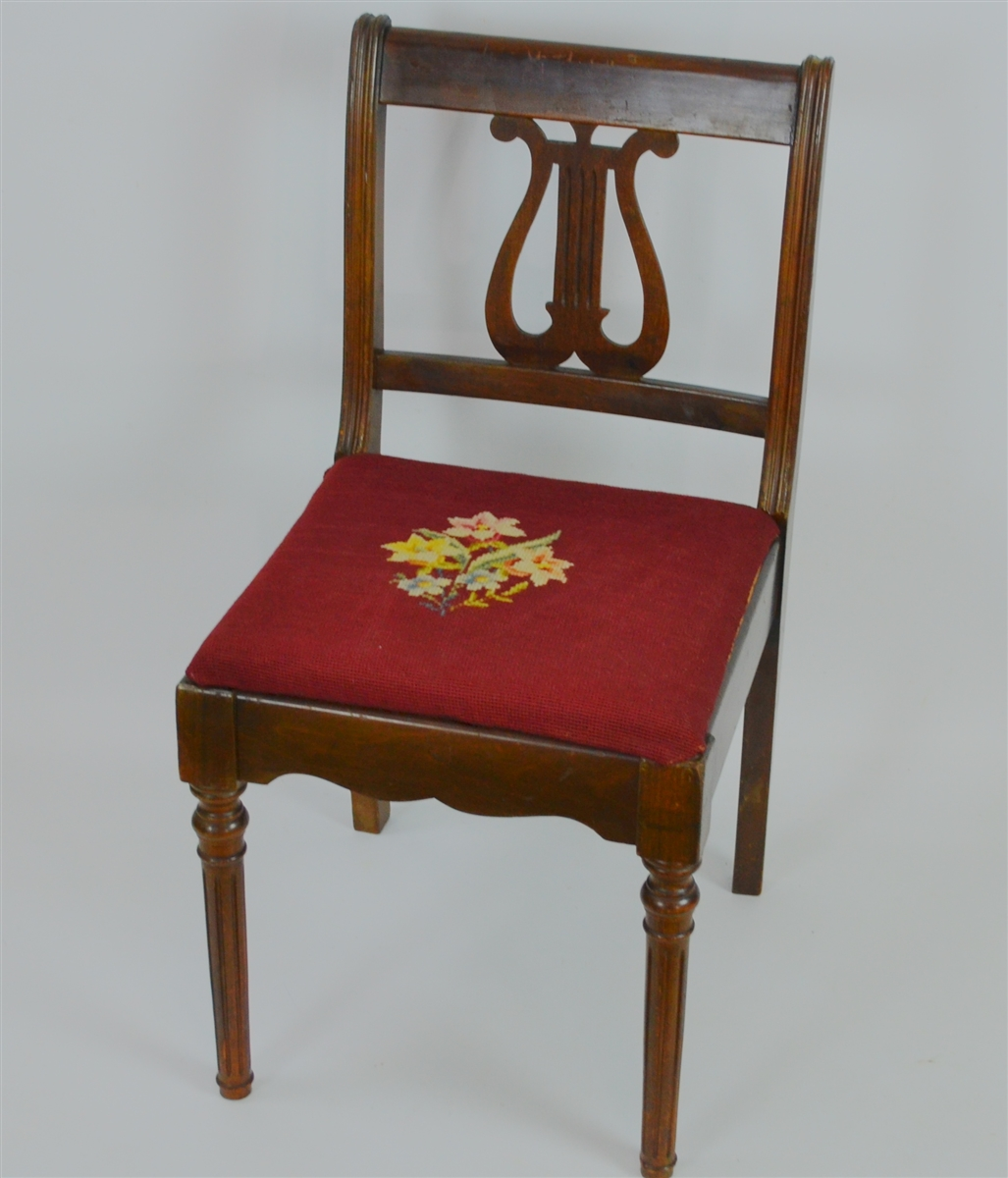 Lyre Harp Back Mahogany Chair With Needlepoint Seat