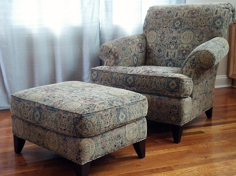 Cloth Overstuffed Lounger Chair And Ottoman