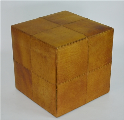 Leather Cowhide Ottoman Cube