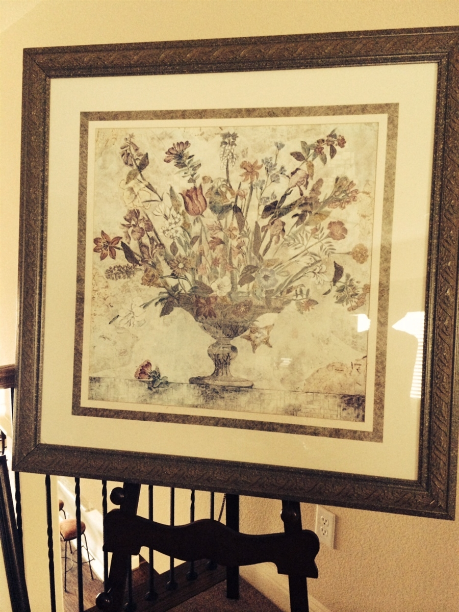 Wall-mounted framed hand-painted picture of flowers