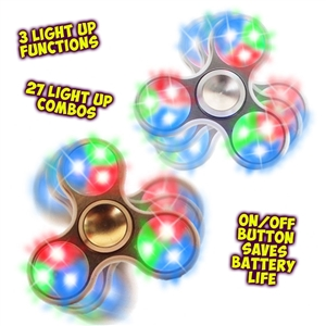 Spinz Metallic Chrome & Gold Flashing Fidget Spinner (12 pc display)