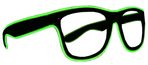 Black Frame EL Wire Glasses - Green