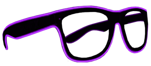 Black Frame EL Wire Glasses - Purple