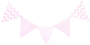 Mix Pattern Triangle Pennant Banner - Pink
