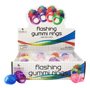 Flashing Gummi Rings PDQ (24 Count)