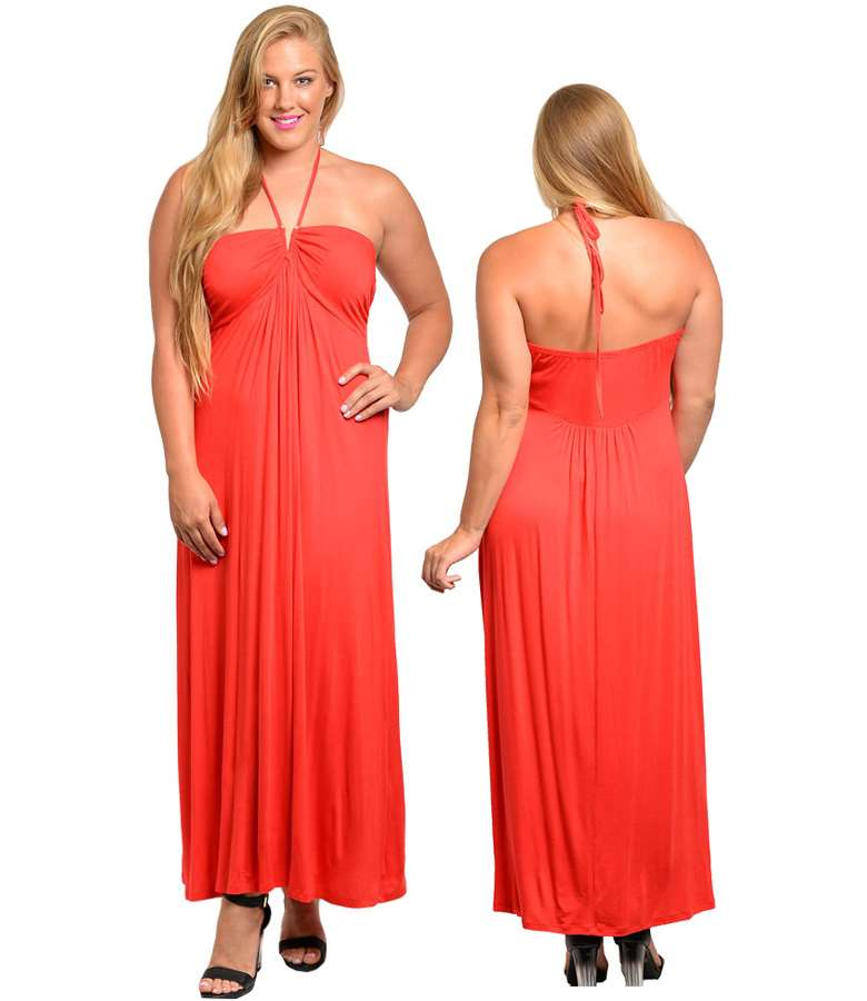 U ring Spaghetti halter woman plus size maxi dress coral 850