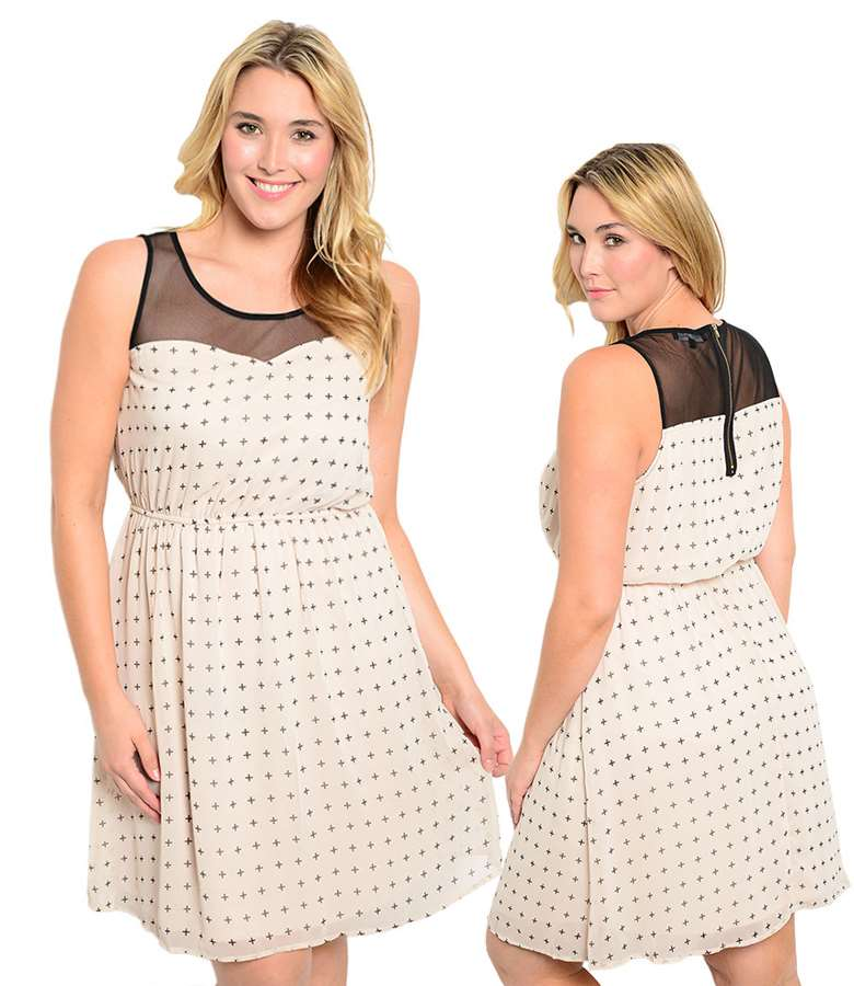 Mesh sweetheart yoke woman plus size dress cream 6847