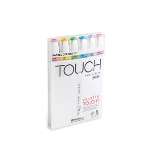 ShinHan TOUCH TWIN 6 BRUSH MARKER SET (Pastel Colors)