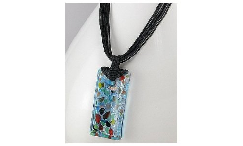 Rectangle Spotted Glass Necklace