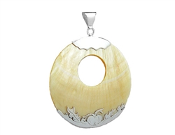 Large Round Shell Sterling Silver Necklace