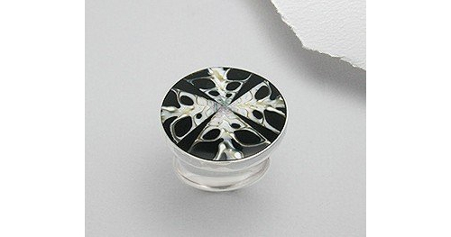 Shell Inlay Sterling Silver Adjustable Ring (Sizes 6 - 9)