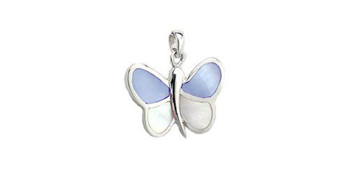 "Shell Inlay Butterfly Pendant Silver Necklace w/ 18"" Sterling Silver Snake Chain"