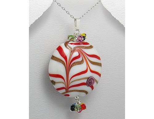 Glass Pendant Ornament Necklace with 16 Sterling Silver Snake Chain
