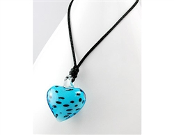Light Blue Spotted Glass Heart Necklace