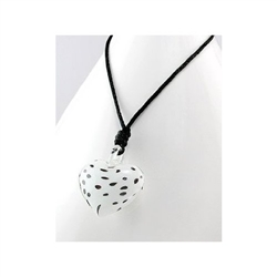 Clear Spotted Glass Heart Necklace