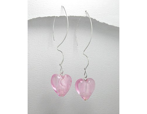 Pink Heart Sterling Silver Earrings