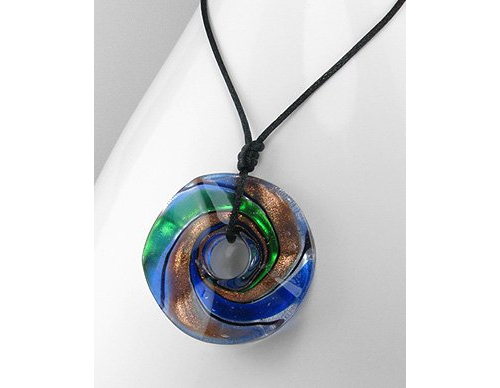 Blue, Green and Copper Swirl Round Wheel Shape Necklace