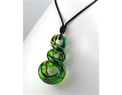 Green Glass Swirl Pendant Necklace