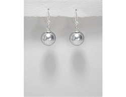 Simulated Grey / Silver Pearl Sterling Silver Earrings