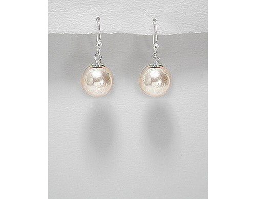 Simulated Peach Pearl Sterling Silver Earrings