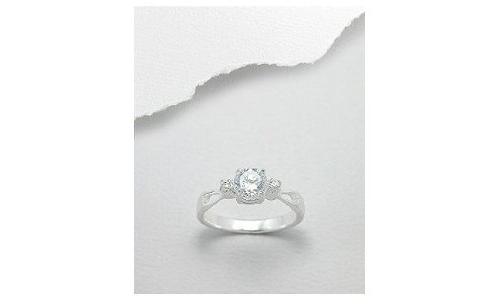 Prong Mounted Cubic Zirconia Sterling Silver Engagement Ring-8