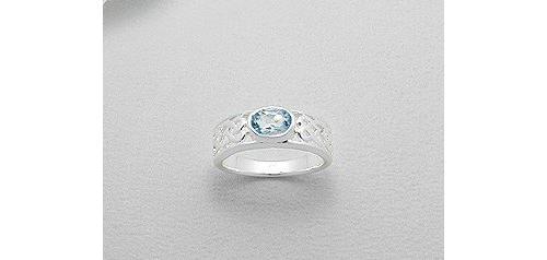 Celtic Powder Blue Cubic Zirconia Sterling Silver Ring (8)