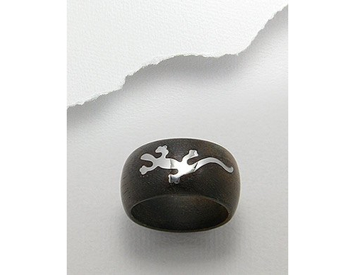 Gecko Stainless Steel Inlay Real Wood Ring (7)