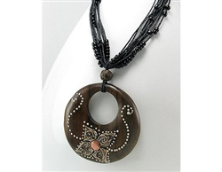 Flower Design Copper and Wood Necklace