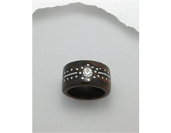 Stainless Steel and Crystal Glass Design Wood Ring