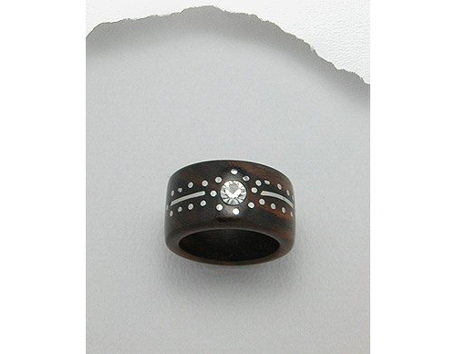 Stainless Steel and Crystal Glass Design Wood Ring (8)