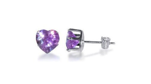 Lavender Cubic Zirconia Heart Shaped Sterling Silver Earrings (Lavender)