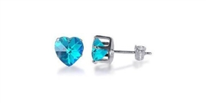 Light Sky Blue Cubic Zirconia Heart Shaped Sterling Silver Earrings (Light Sk...