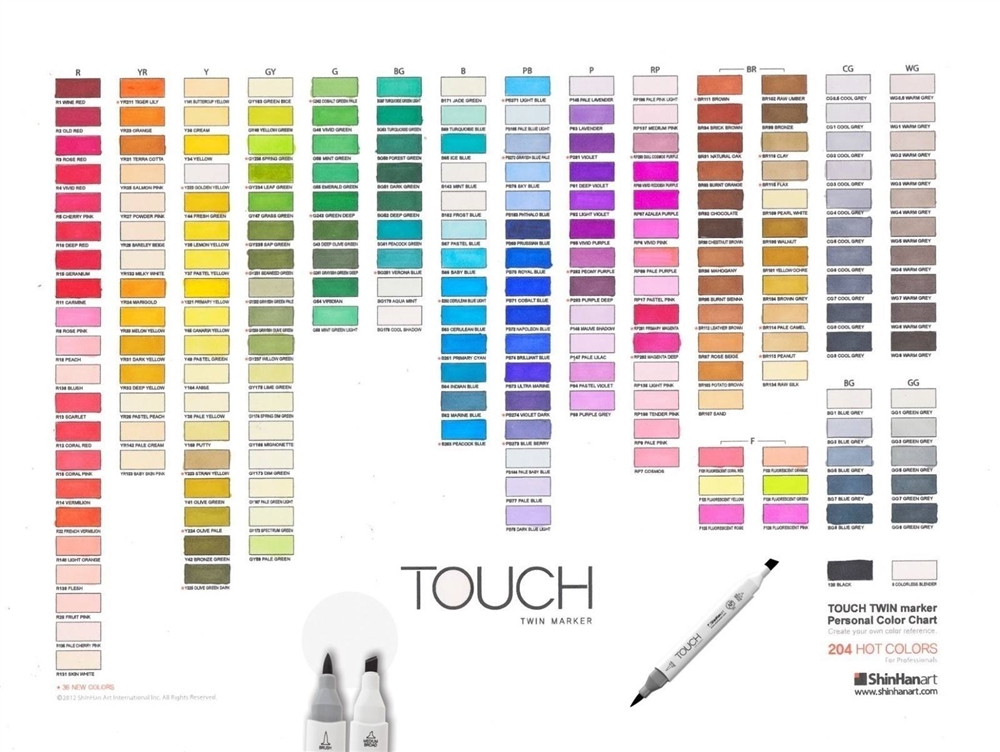 All Individual Shinhan Art Touch Twin Brush Markers List