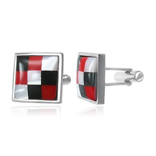 Stainless Steel Cufflinks 3 Tone Red