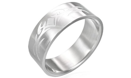 Tribal Design Stainless Steel Ring - 8