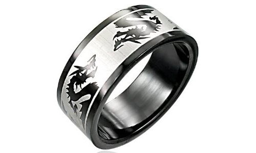 Dragon Black Stainless Steel Ring - 12