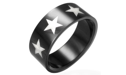Stars Black Stainless Steel Ring-7.5